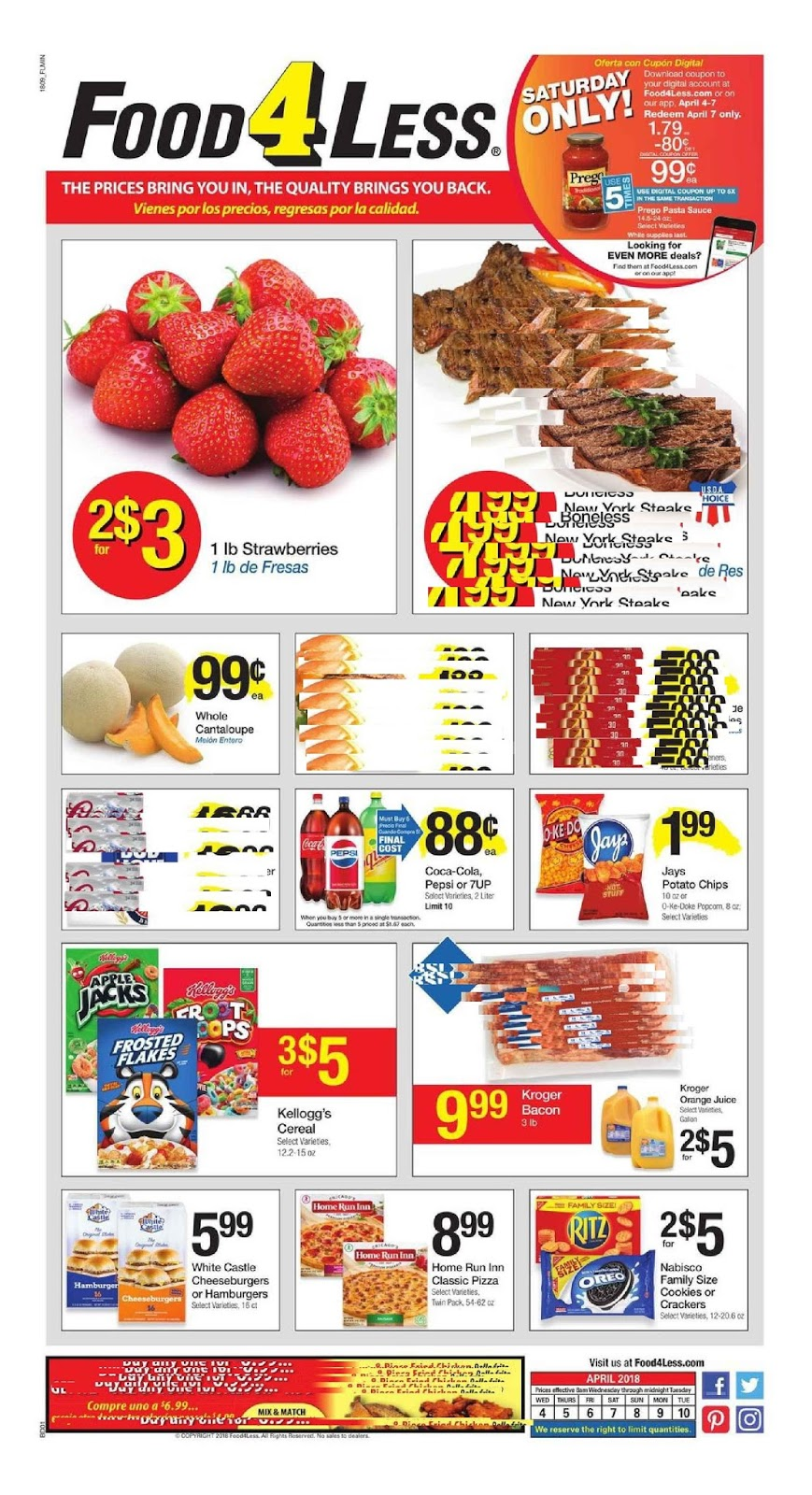 Food 4 Less Weekly Ad Deals April 4 - 10, 2018 | Daily
