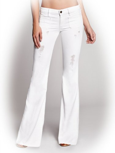 GUESS Women's 70s Mid-Rise Flare Jeans in Linen Wash with Destroy, DWBL-1 (23)