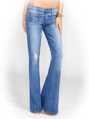 GUESS Women's 70s Mid-Rise Flare Jeans in Rossen Wash, ROSSEN WASH (32)