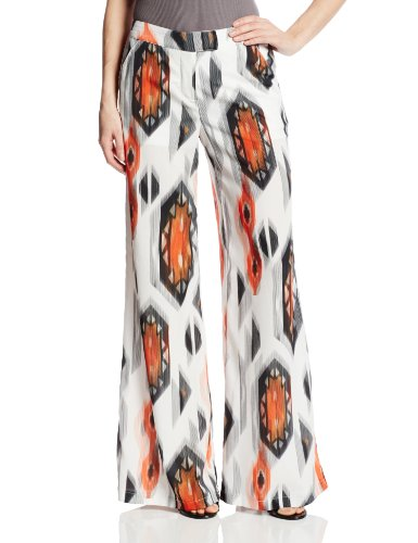 XOXO Women's Printed Wide Leg Pant, White, Medium