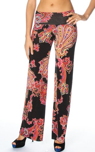 Pink Paiysley Print High Waist Fold Over Wide Leg Silky Palazo Pants (Medium, Black)